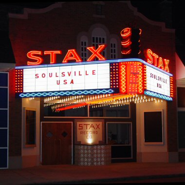 The Stax marquee at night